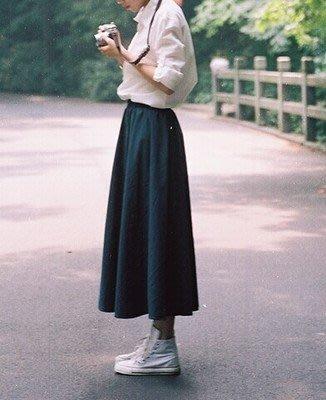 【Q比花園】C日系文藝小清新棉麻百褶裙 長裙