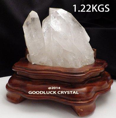 天然原礦骨幹白水晶柱,凈重约1.22公斤,高10公分,贈底座~好運到水晶坊(D6_20)