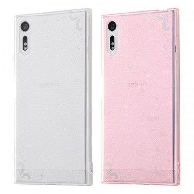 尼德斯Nydus~* 日本正版 Sony Xperia XZ 手機殼 TPU 軟殼 透明 粉紅 雕花