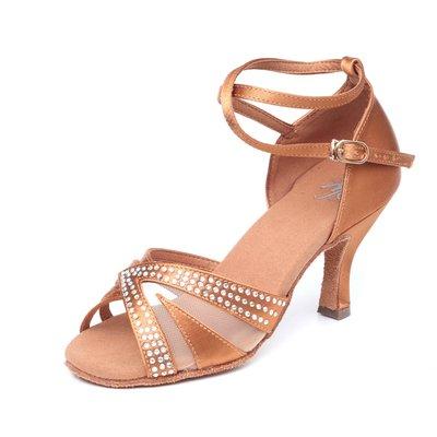 "Afa安法國標舞鞋/拉丁舞鞋 原價$2,800~~女拉丁 古銅緞布 捷克水鑽 42002 鞋跟2.3""、3"""
