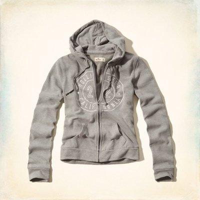 Maple麋鹿小舖 Hollister Co * HCO 灰色電繡字母連帽外套 * ( 現貨S號 )