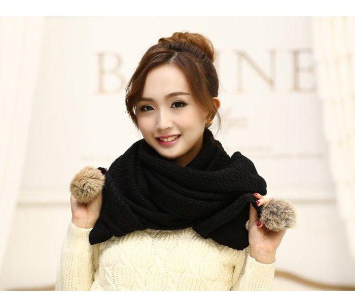 ☆Candy Box☆女士圍巾冬季 韓國新款秋冬天保暖可愛兔毛球球纯色毛線針織圍脖 黑 Y1412307