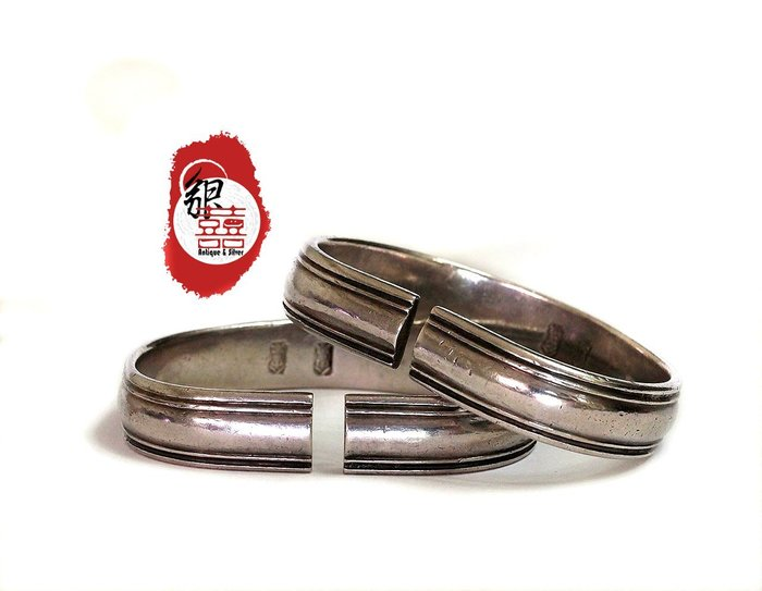 銀囍古董銀飾--老銀手鐲 銀手鏈 東北素雙軌對鐲 老銀時尚版 經典 典藏極品