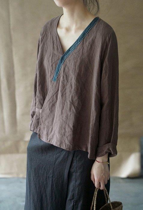【子芸芳】復古中式斜襟手工繡線開衫漢服做舊質樸茶服襯衫