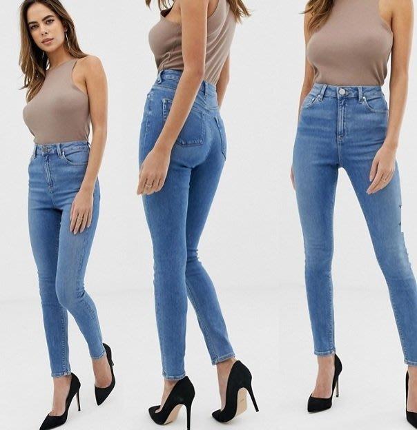 ◎美國代買◎ASOS帶點白的藍刷色搭配高腰包覆剪裁復古時尚甜心高腰顯廋藍色合身牛仔褲~歐美時尚~大尺碼