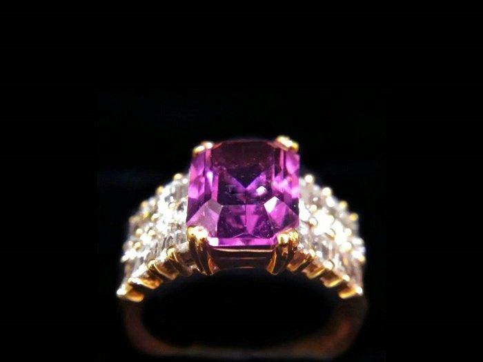 天然紫水晶  鑲鑽豪華造型女戒