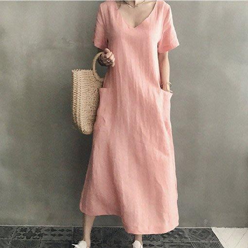 沒有最好穿只有更好穿韓系 棉麻洋裝 素雅V領雙口袋亞麻長款連身裙 艾爾莎【TGK6569】