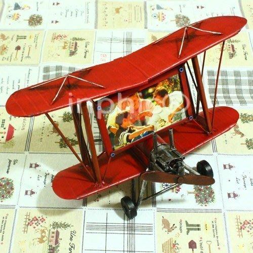 INPHIC-飛機鐵皮相框相架 紅色 老版戰鬥機 創意F