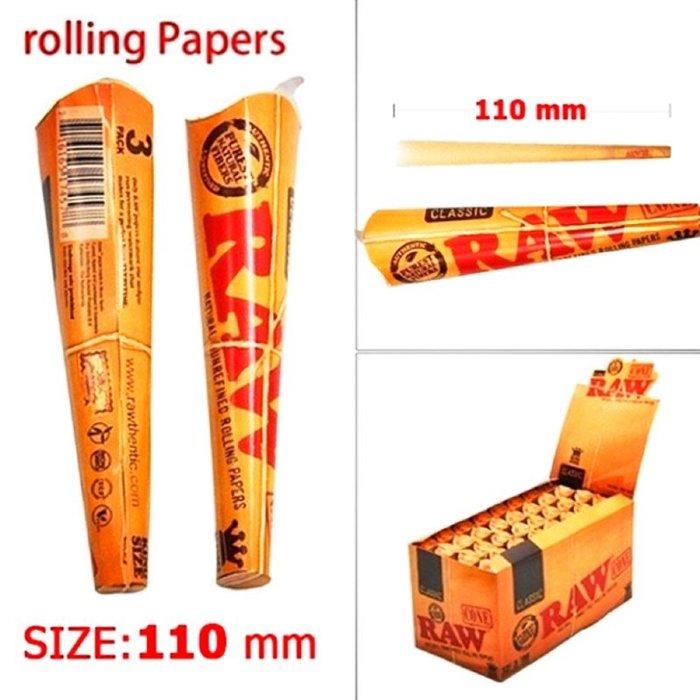 【MEGA】?免運 美國熱銷 RAW Classic Cone 110mm 預 捲煙紙 捲菸 3入 慢燃 捲菸紙 捲煙