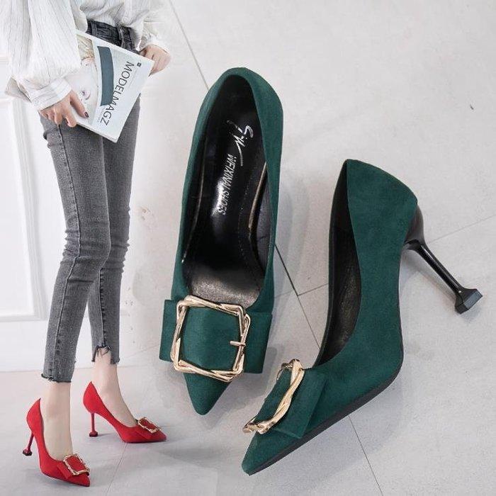 【起點3C】小清新方扣高跟鞋紅色女職業工作鞋公主百搭細跟結婚單鞋-免運費