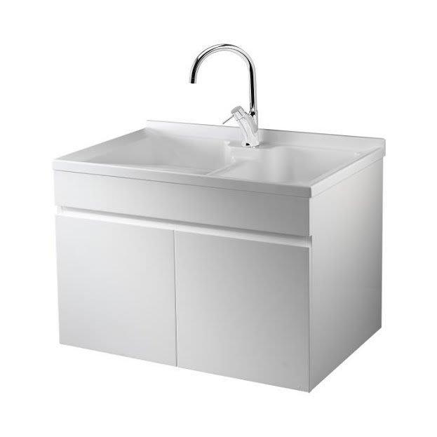 《101衛浴精品》台灣製造 100%全防水 80cm 雙槽 人造石洗衣槽 白色鋼琴烤漆 浴櫃組 LC-80【免運費】