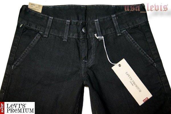 美國廠賠售【原價125美金】高價Levi s Premium TUX 鐵灰白線超低腰寬版直筒牛仔褲25-26腰