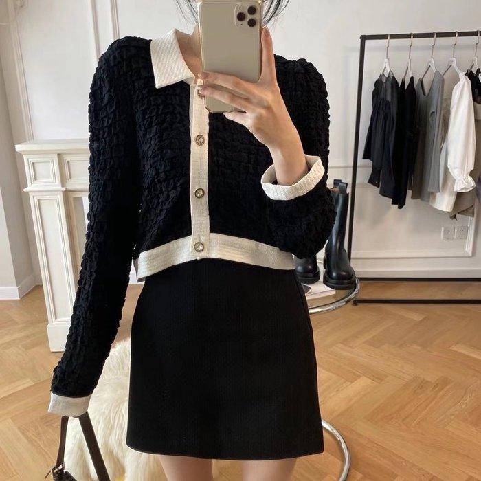 PapaDarling 20SSw 小香風經典黑白撞色娃娃翻領設計長袖襯衫 上衣穿搭 時尚黑高腰短裙 套裝 長袖裙裝
