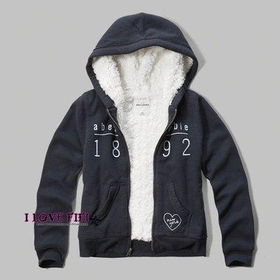 ❤美國專櫃帶回真品❤a&f童裝abercrombie&fitch kids girl hoodie羔羊毛刺繡連帽外套深藍