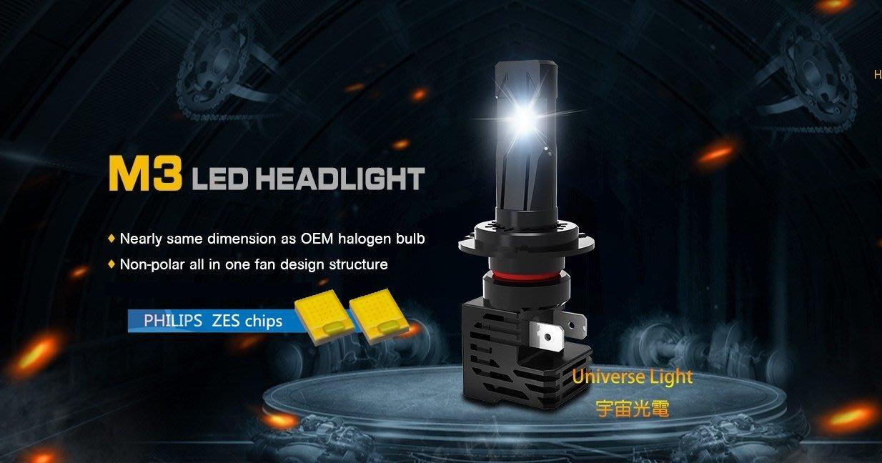 [飛利浦晶片保固一年]M3 LED 大燈 H4 H7 H8 H10 H11 H16 9005 9006 9012 頭燈
