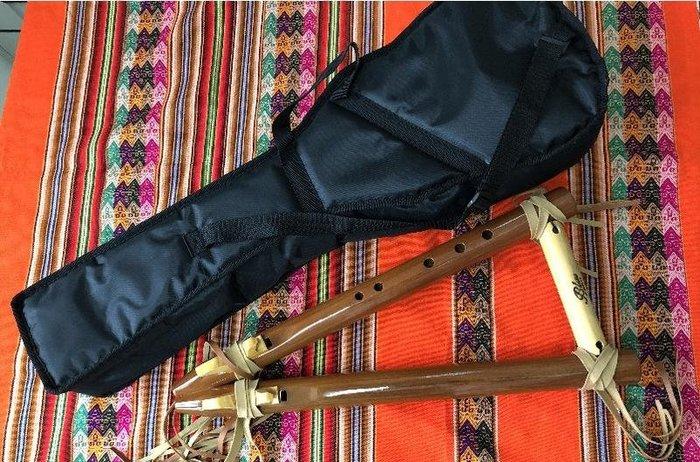 """秘魯原裝進口-名牌專業木製雙排5孔""""G""""且若給笛--flauta cherokee doble--附笛袋"""