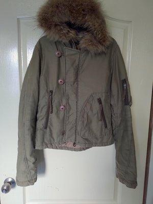 [99go] 日本潮牌flash report 軍綠色 保暖 連帽 鋪棉外套 L號 皮草帽沿 boyfriend