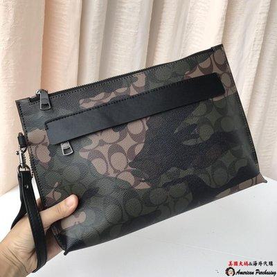 美國大媽代購 COACH 寇馳 29127 都市商務時尚 深綠色迷彩手腕包 手拿包 美國代購