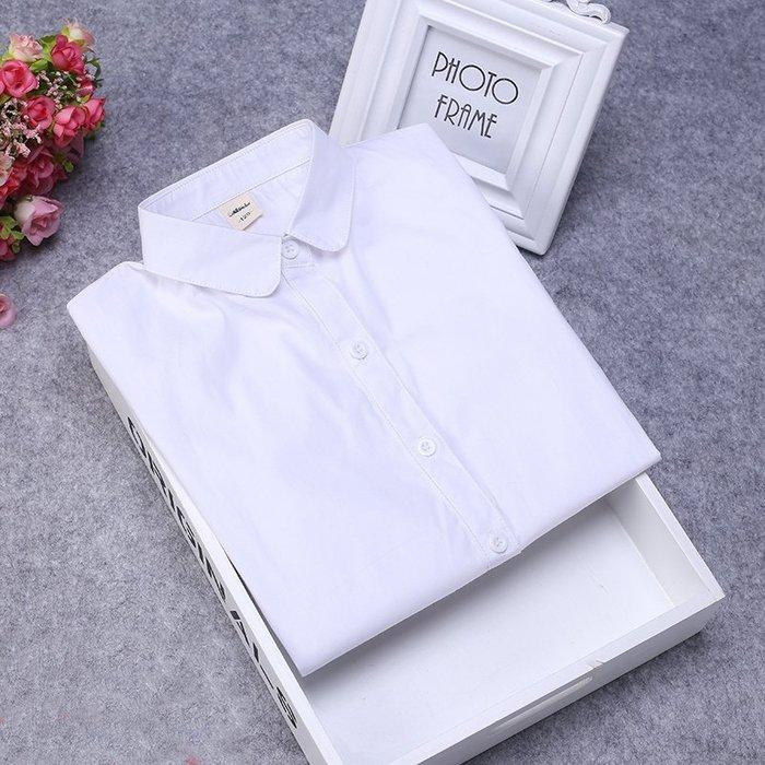 [C.M.平價精品館]160現貨/簡約有型舒適純棉圓領白色長袖襯衫   大童/小中童