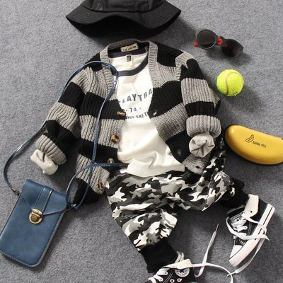 【Mr. Soar】 **清倉** D320春季新款 韓國style童裝男童粗條紋針織外套 現貨