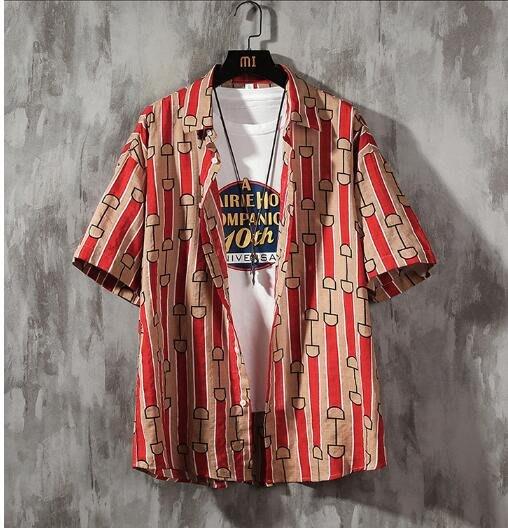 FINDSENSE X 男士 薄款 短袖 襯衫 夏季男 冰絲花上衣情侶襯衣 襯衫