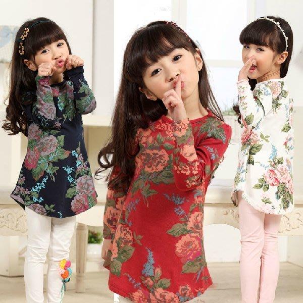 韓版《花朵長版款 》長版 長袖上衣 (L2-3)