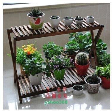 美學219陽臺木質雙層碳化花架防腐木多肉花架植物架 3587❖85154