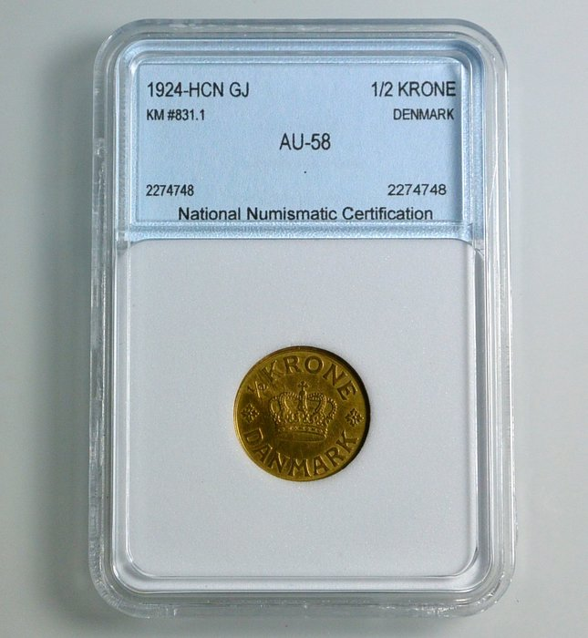評級幣 丹麥 1924年 1/2 krone 鑑定幣 NNC AU58