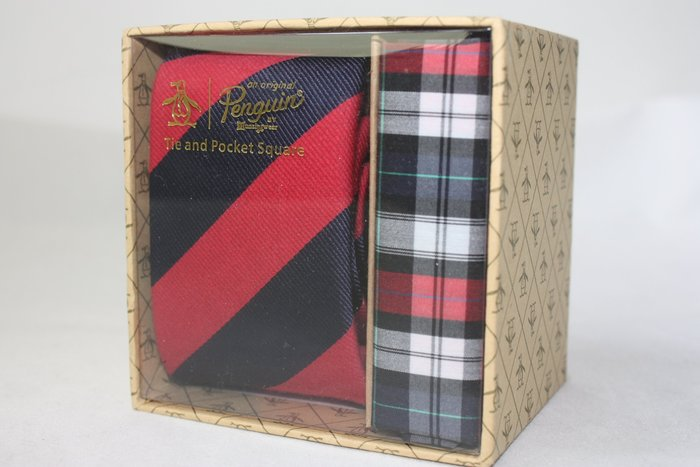 【Penguin 美國品牌】100%全新正品 斜紋領帶-紅藍色【窄版6cm】*領帶+純棉手帕+原廠盒*NEW PE06