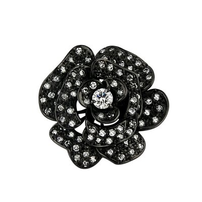 【JHT金宏總珠寶/GIA鑽石專賣】 天然黑玫瑰鑽石胸針/材質:18K(JB50-A13)