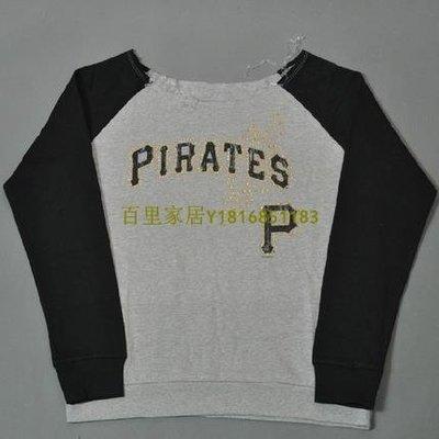 百里家居美國MLB棒球女款長袖加絨大圓領T恤海盜隊燙鉆Pittsburgh Pirates