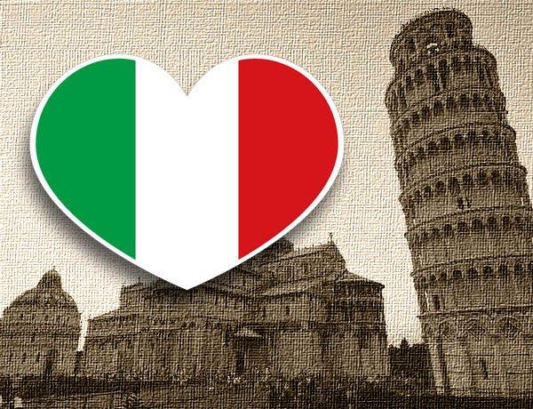 【衝浪小胖】義大利國旗抗UV、防水愛心形登機箱貼紙/Italy/各國都有販賣和客製