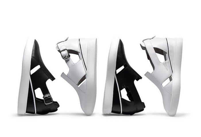 現貨36免運 全真皮休閒鞋 坡跟皮帶扣鏤空時尚大氣增高涼鞋【ZOWOO-B0084】歐美時尚 牛皮