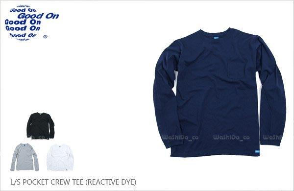 WaShiDa【GOLT1306】Good On 日本品牌 POCKET CREW 反應染 長袖 圓領 口袋 T恤