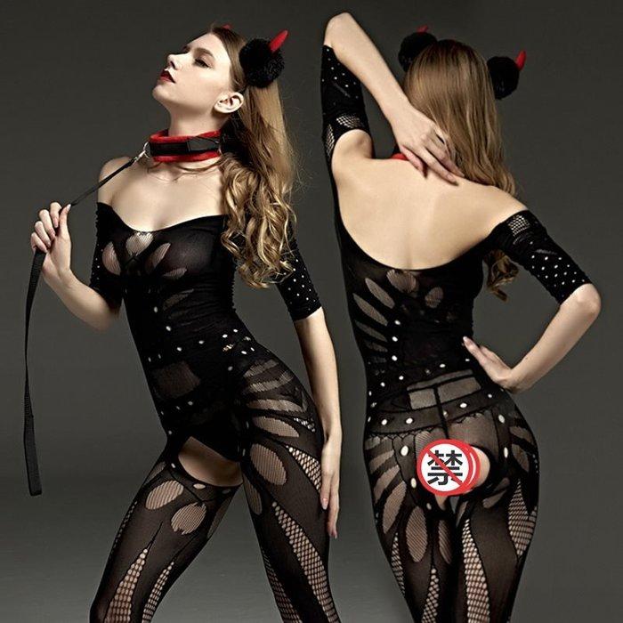 MIX style SHOP【S-795】Rimes 情趣內衣❤黑色長袖加密情趣睡衣裹胸露肩性感大碼連身網衣襪