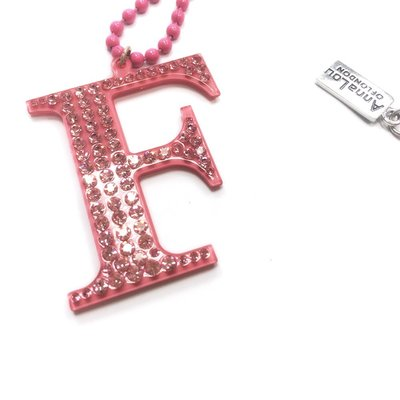 Anna Lou Of London 台北ShopSmart直營店 倫敦品牌 水晶字母項鍊 F 粉紅色