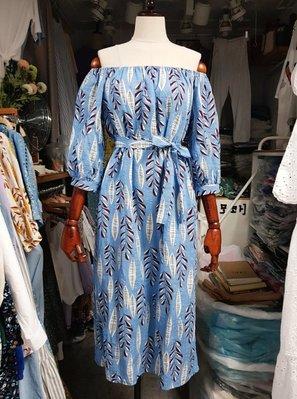 ~P. t Shutter按下快門~正韓貨東大門連線預購.鬆緊領圍綁帶葉片印花洋裝(藍)1080含運