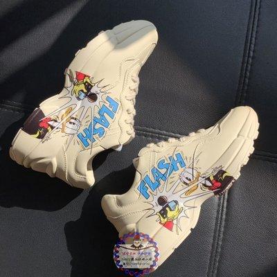 Disney & GUCCI古馳聯名 女款做舊復古老爹鞋 髒髒鞋 卡通叮噹貓跑步運動鞋 休閒小白鞋 女碼35-40