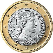 【幣】EURO 拉脫維亞2014年發行 歐元首年幣 民族風少女 1歐元