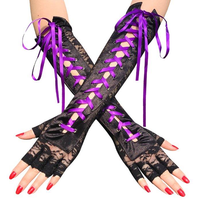 MIX style SHOP【S-568】龐克女郎❤蕾絲緞帶鉚釘穿綁式半指長手套~(2色)