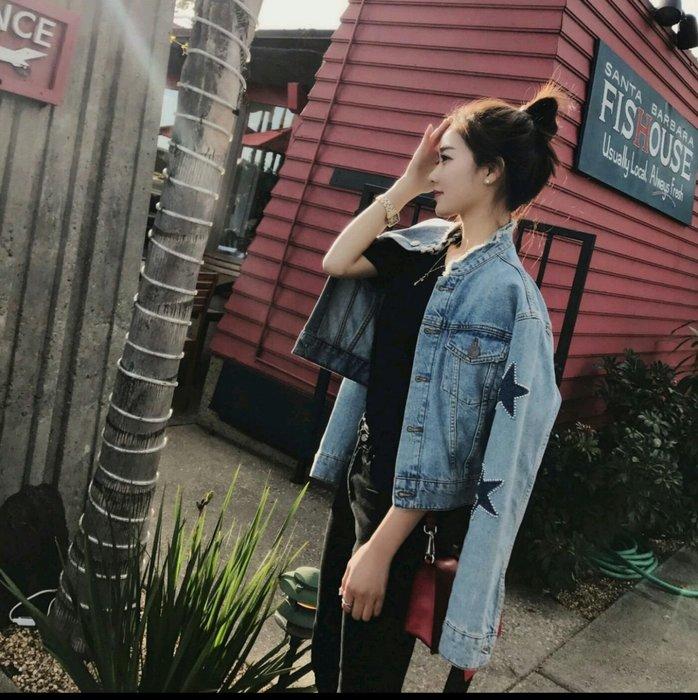 【有范實拍】韓❤新款寬鬆短外套女裝/bf五角星星🌟破洞BF風牛仔外套外套風衣【S.M.L】