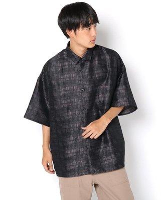 【傑森精品】日本潮牌 WHO'S WHO gallery 不規則 暗紋刺繡 OVERSIZE 寬鬆 五分袖 短袖襯衫