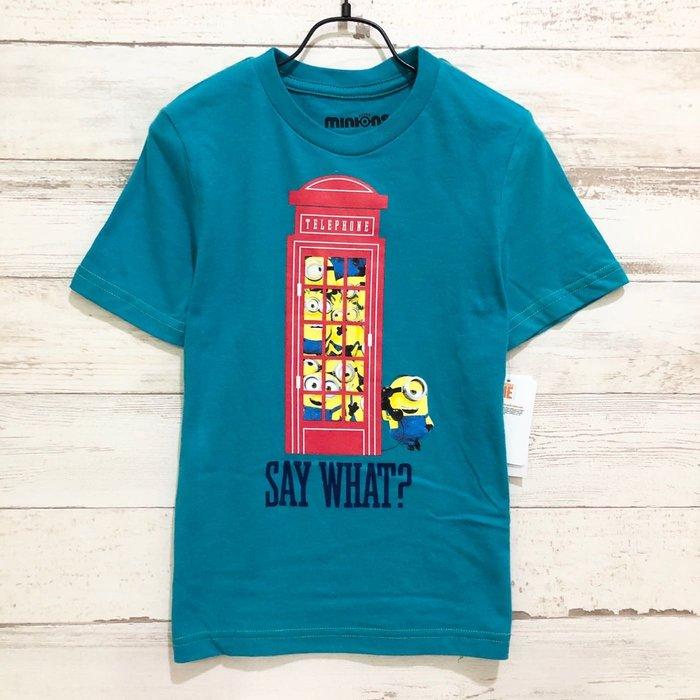 Maple麋鹿小舖 美國購買童裝品牌 minions 男童藍綠色小小兵圖樣短T * ( 現貨4號 )