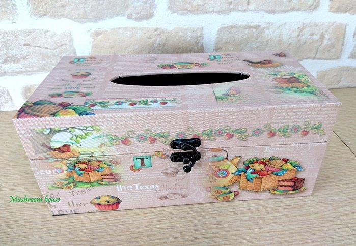 點點蘑菇屋 粉紅色鄉村風水果靜物面紙盒 面紙套 紙巾盒 抽取式衛生紙盒 南瓜 現貨