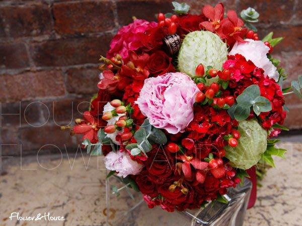 【Flower&House花藝之家】F006新娘捧花。牡丹玫瑰手綁花。婚紗照捧花。西門町花店。自取價