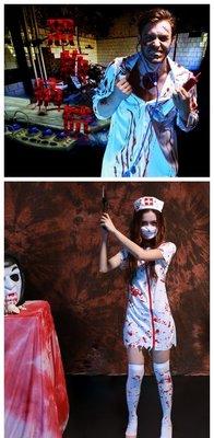 【NF235血染醫生袍/血染護士裝】Halloween萬聖節恐怖血腥護士服裝帶血成人女護士醫生服 帶血恐怖男醫生COS服