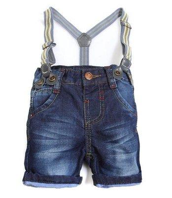 *麗綺童裝* 美單白條背帶短褲(Ku2-001)