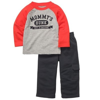 [[W&R]] ((0-24m)) Carter's 二件組Mommy's Hunk上衣+長褲 12m,24m 2件組