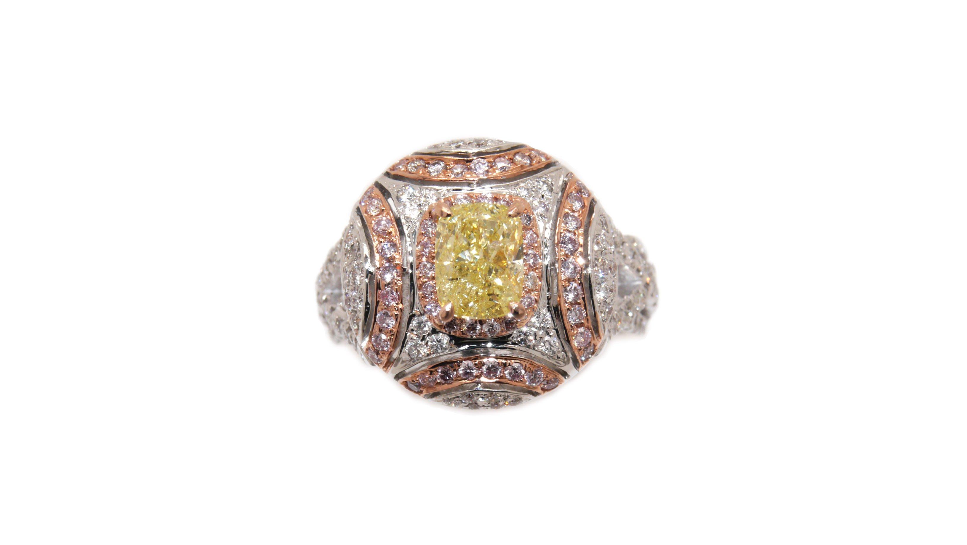 (國外展售中)GIA彩鑽 淺彩黃鑽 戒指 18K金 鑽戒 1.11克拉 fancy light yellow 閃亮珠寶