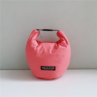 日本 Delicatus 粉紅色帆布 保溫 保冷 飯盒 可手洗 桶型 手提袋 ($160 包順豐)